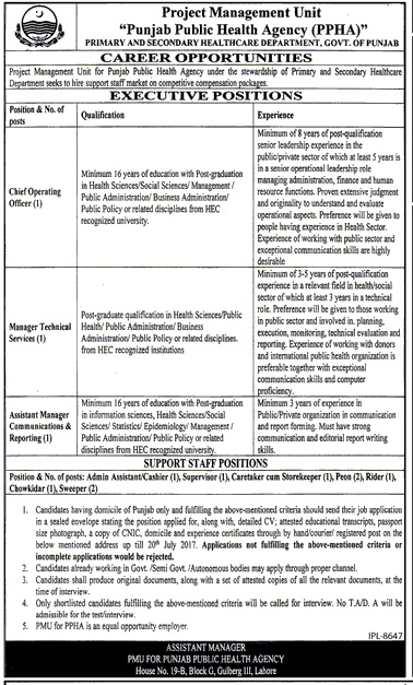 Health Agency jobs advertisement 2017