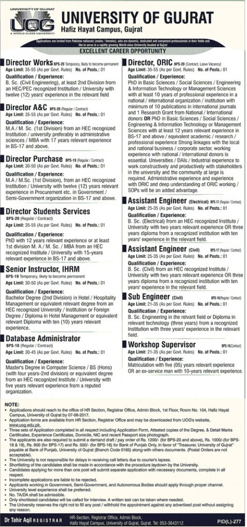 UoG Director jobs advertisement
