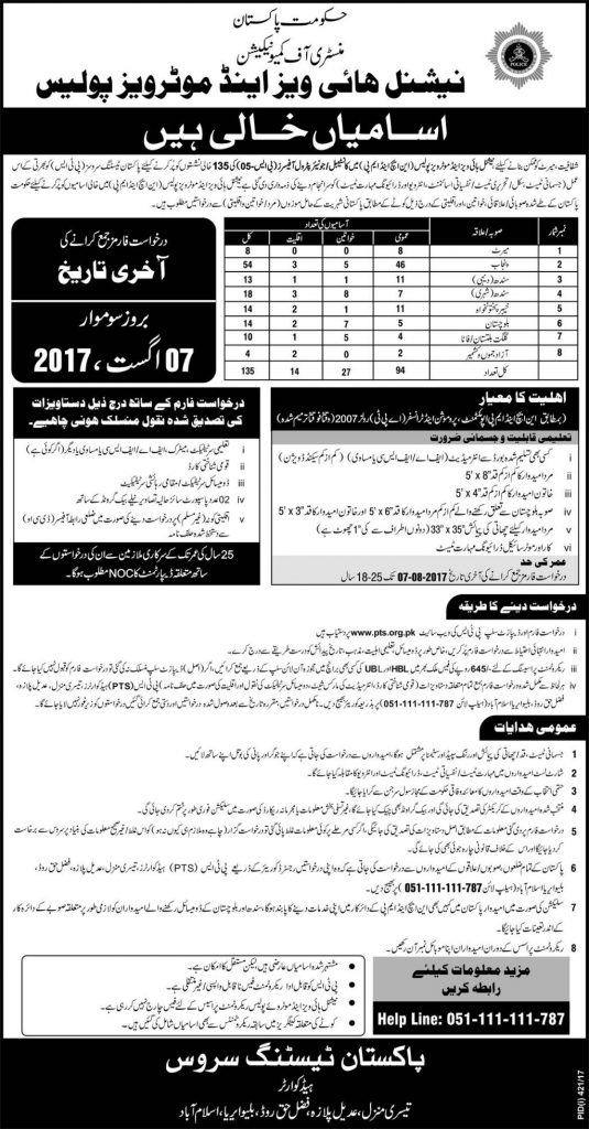 NHMP Police Jobs Advertisement
