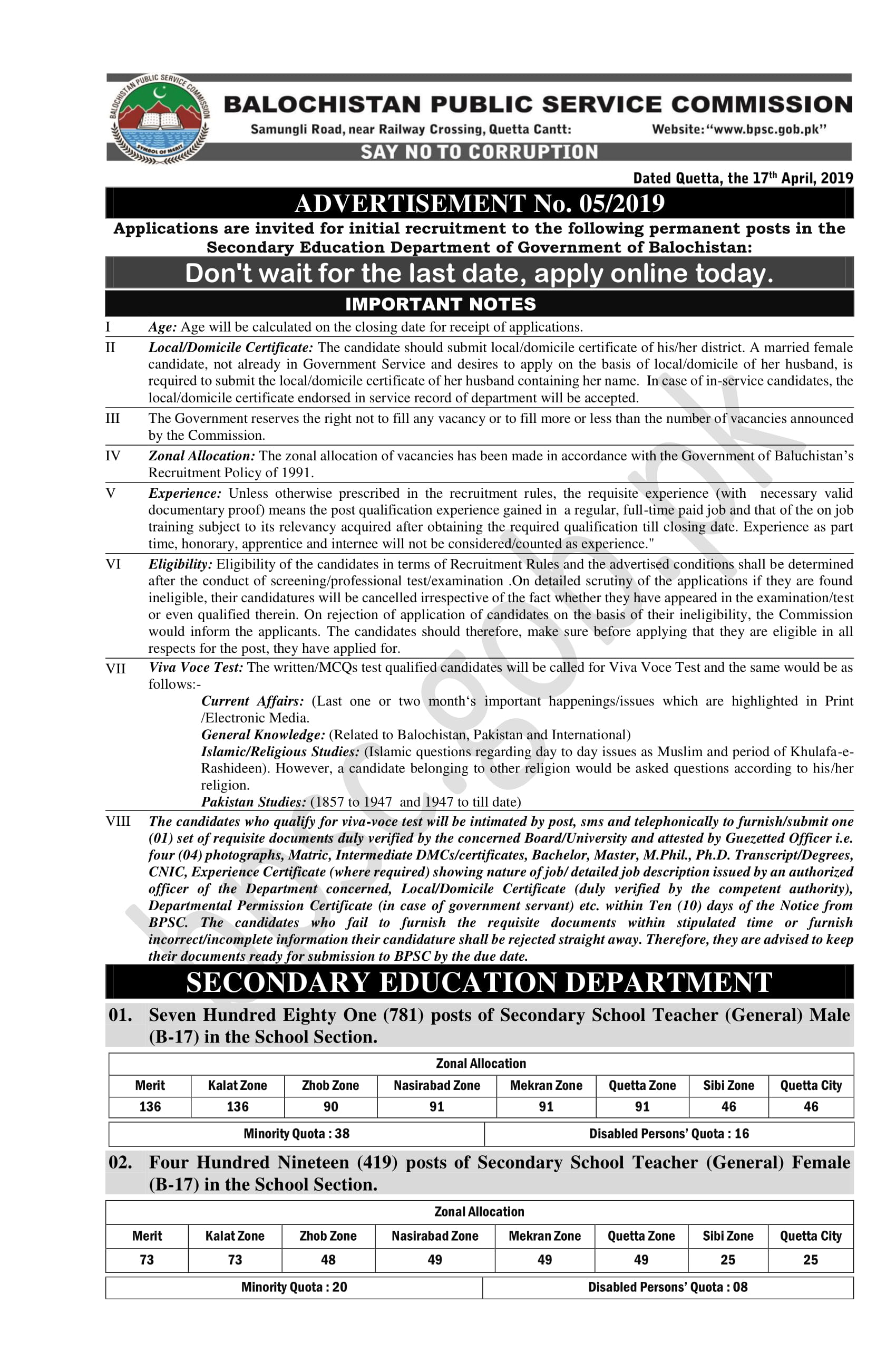 2120 Jobs SST in Education Department Latest 2019 - Pakistan